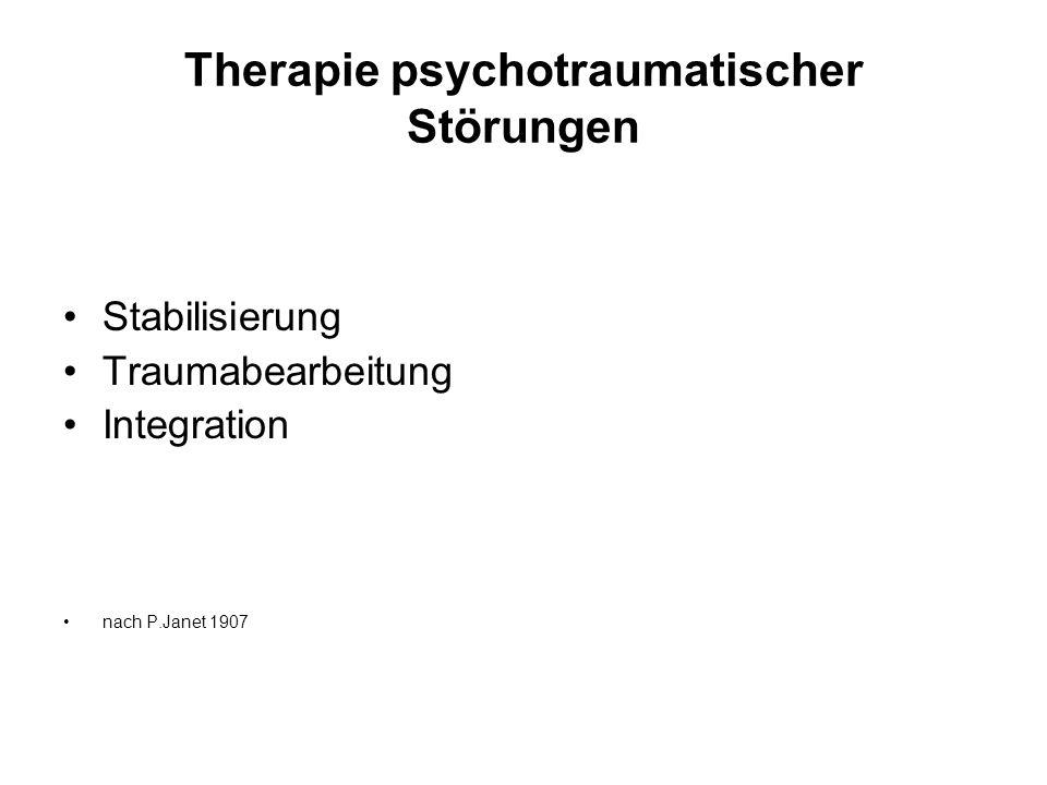 Therapie psychotraumatischer Störungen Stabilisierung Traumabearbeitung Integration nach P.Janet 1907