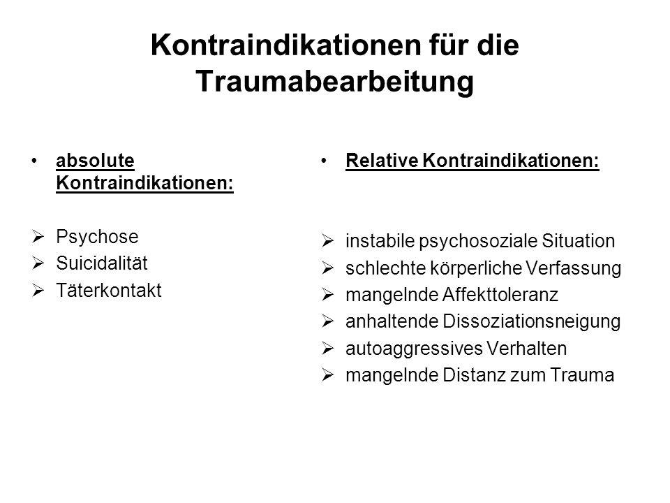 Kontraindikationen für die Traumabearbeitung absolute Kontraindikationen: Psychose Suicidalität Täterkontakt Relative Kontraindikationen: instabile ps