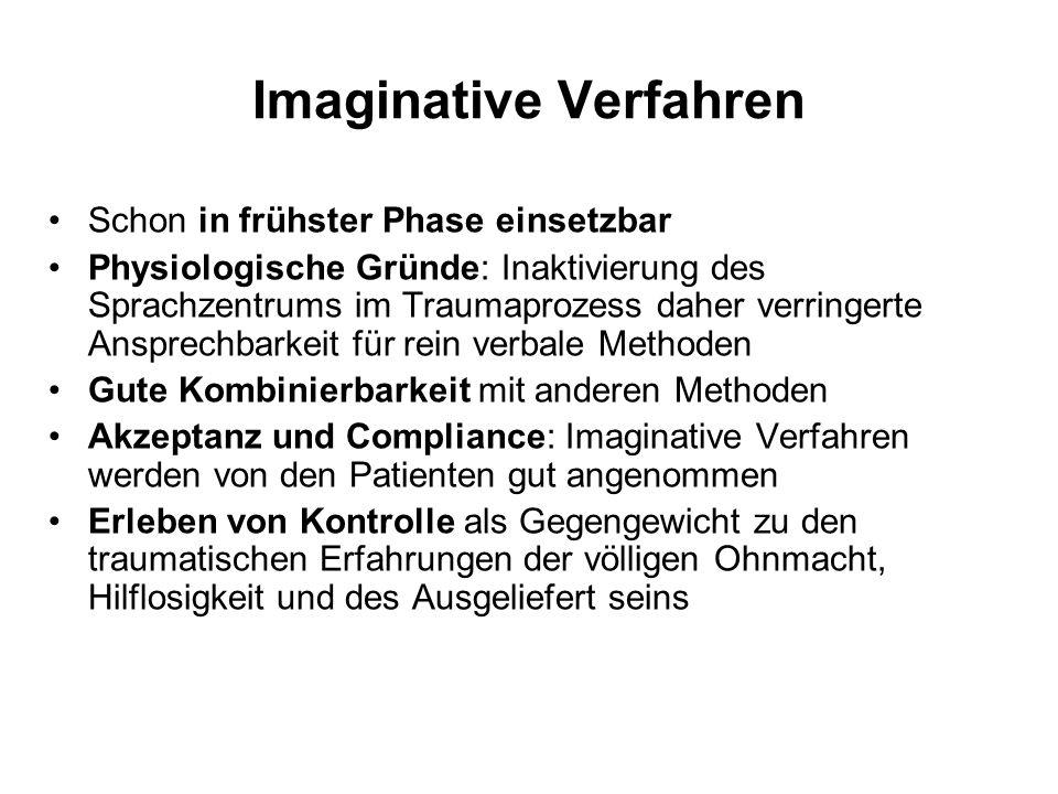 Imaginative Verfahren Schon in frühster Phase einsetzbar Physiologische Gründe: Inaktivierung des Sprachzentrums im Traumaprozess daher verringerte An