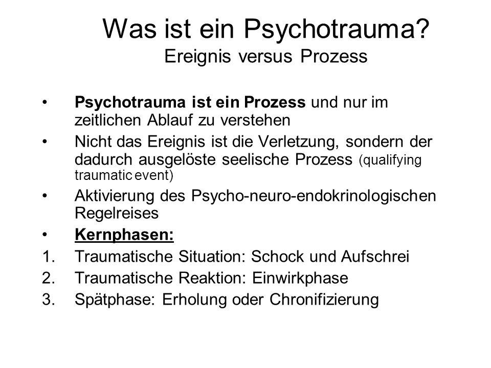 Was ist ein Psychotrauma? Ereignis versus Prozess Psychotrauma ist ein Prozess und nur im zeitlichen Ablauf zu verstehen Nicht das Ereignis ist die Ve
