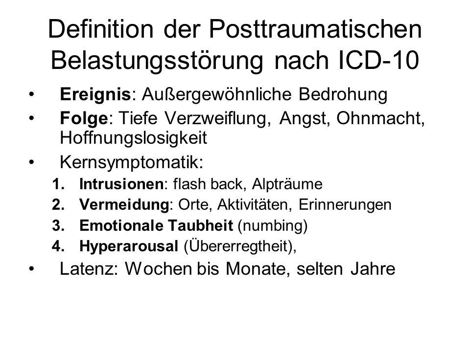 Definition der Posttraumatischen Belastungsstörung nach ICD-10 Ereignis: Außergewöhnliche Bedrohung Folge: Tiefe Verzweiflung, Angst, Ohnmacht, Hoffnu