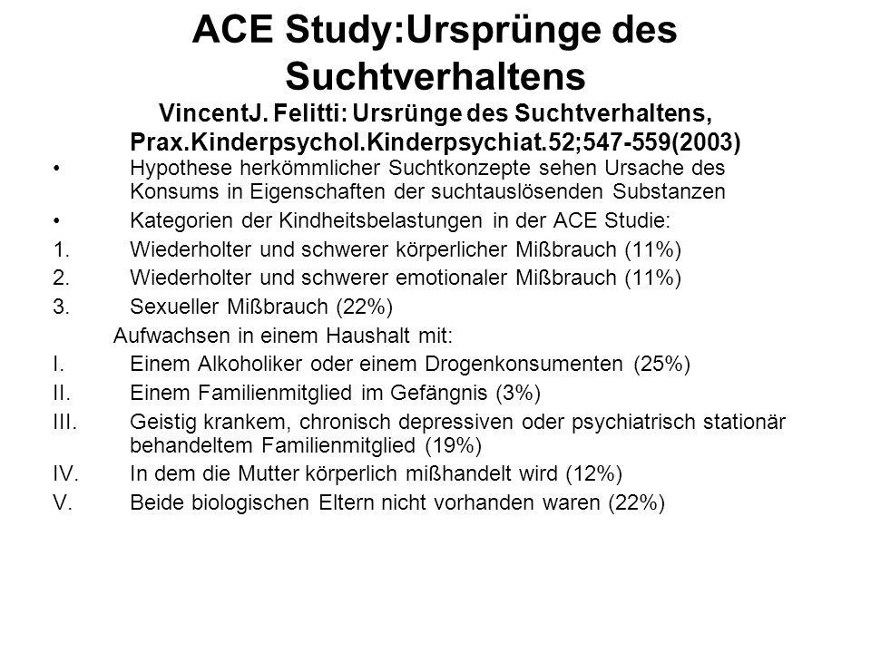 ACE Study:Ursprünge des Suchtverhaltens VincentJ. Felitti: Ursrünge des Suchtverhaltens, Prax.Kinderpsychol.Kinderpsychiat.52;547-559(2003) Hypothese
