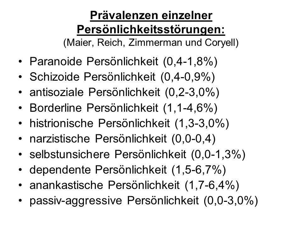 Prävalenz und Epidemiologie Schätzungen variieren stark unterschiedliche diagnostische Ein- und Ausschlußkriterien Allgemeinbevölkerung: 1980 Weissmann und Myers - 0,2% 1959 Leighton - 1,7% 1990 Swartz - 1,8% Psychiatriepatienten: 1990 Widiger >60% (unter Ausschluß Psychose und Demenz) 1994 Frances - 34%