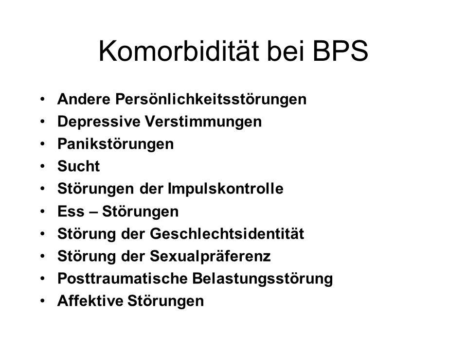 Komorbidität bei BPS Andere Persönlichkeitsstörungen Depressive Verstimmungen Panikstörungen Sucht Störungen der Impulskontrolle Ess – Störungen Störu