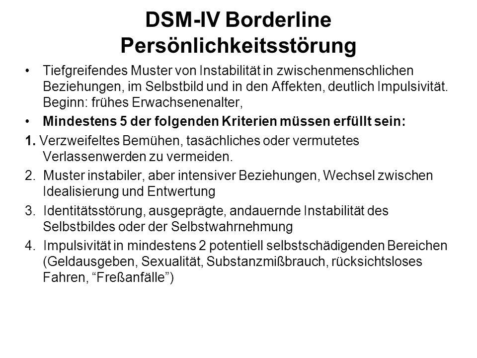 DSM-IV Borderline Persönlichkeitsstörung Tiefgreifendes Muster von Instabilität in zwischenmenschlichen Beziehungen, im Selbstbild und in den Affekten