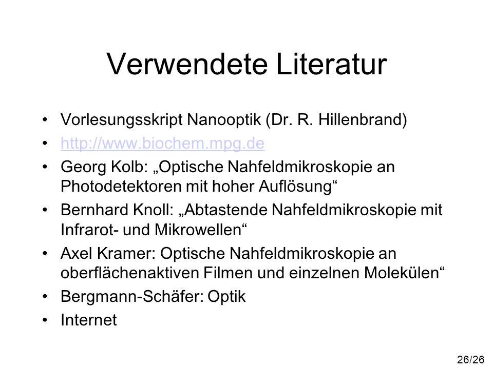 Verwendete Literatur Vorlesungsskript Nanooptik (Dr. R. Hillenbrand) http://www.biochem.mpg.de Georg Kolb: Optische Nahfeldmikroskopie an Photodetekto