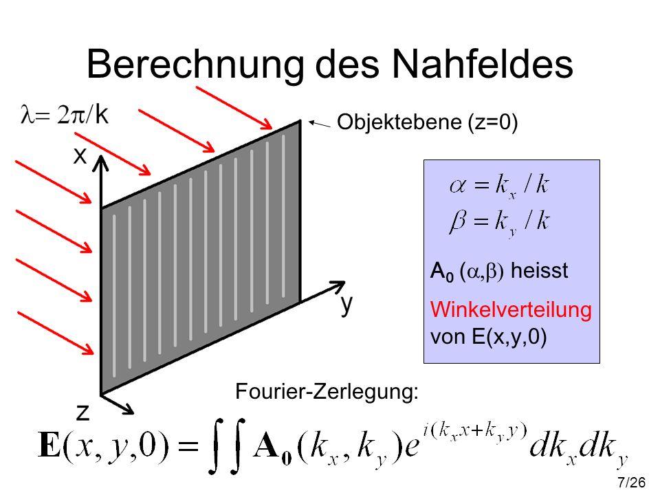 Berechnung des Nahfeldes Objektebene (z=0) Fourier-Zerlegung: A 0 ( heisst Winkelverteilung von E(x,y,0) 7/26
