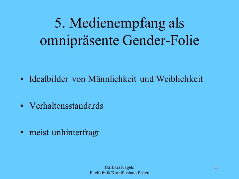 Barbara Nagels Fachklinik Kamillushaus Essen 15 5. Medienempfang als omnipräsente Gender-Folie Idealbilder von Männlichkeit und Weiblichkeit Verhalten