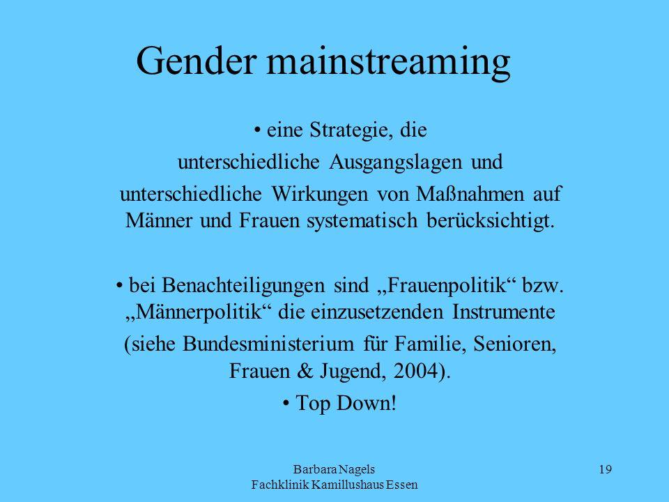 Barbara Nagels Fachklinik Kamillushaus Essen 19 Gender mainstreaming eine Strategie, die unterschiedliche Ausgangslagen und unterschiedliche Wirkungen