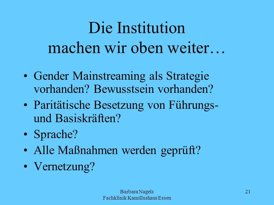 Barbara Nagels Fachklinik Kamillushaus Essen 21 Die Institution machen wir oben weiter… Gender Mainstreaming als Strategie vorhanden? Bewusstsein vorh
