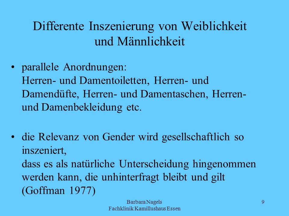Barbara Nagels Fachklinik Kamillushaus Essen 9 Differente Inszenierung von Weiblichkeit und Männlichkeit parallele Anordnungen: Herren- und Damentoile