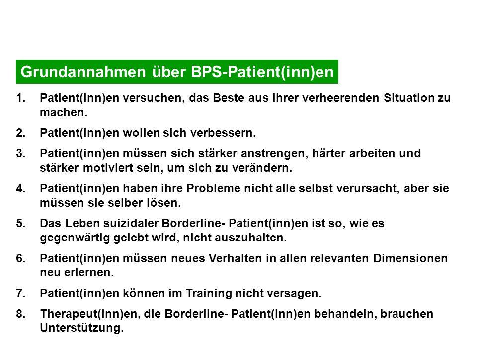 Grundannahmen über BPS-Patient(inn)en 1.Patient(inn)en versuchen, das Beste aus ihrer verheerenden Situation zu machen. 2.Patient(inn)en wollen sich v