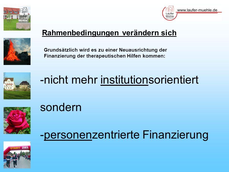 Rahmenbedingungen verändern sich Grundsätzlich wird es zu einer Neuausrichtung der Finanzierung der therapeutischen Hilfen kommen: -nicht mehr institutionsorientiert sondern -personenzentrierte Finanzierung