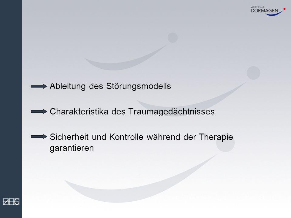 Ableitung des Störungsmodells Charakteristika des Traumagedächtnisses Sicherheit und Kontrolle während der Therapie garantieren