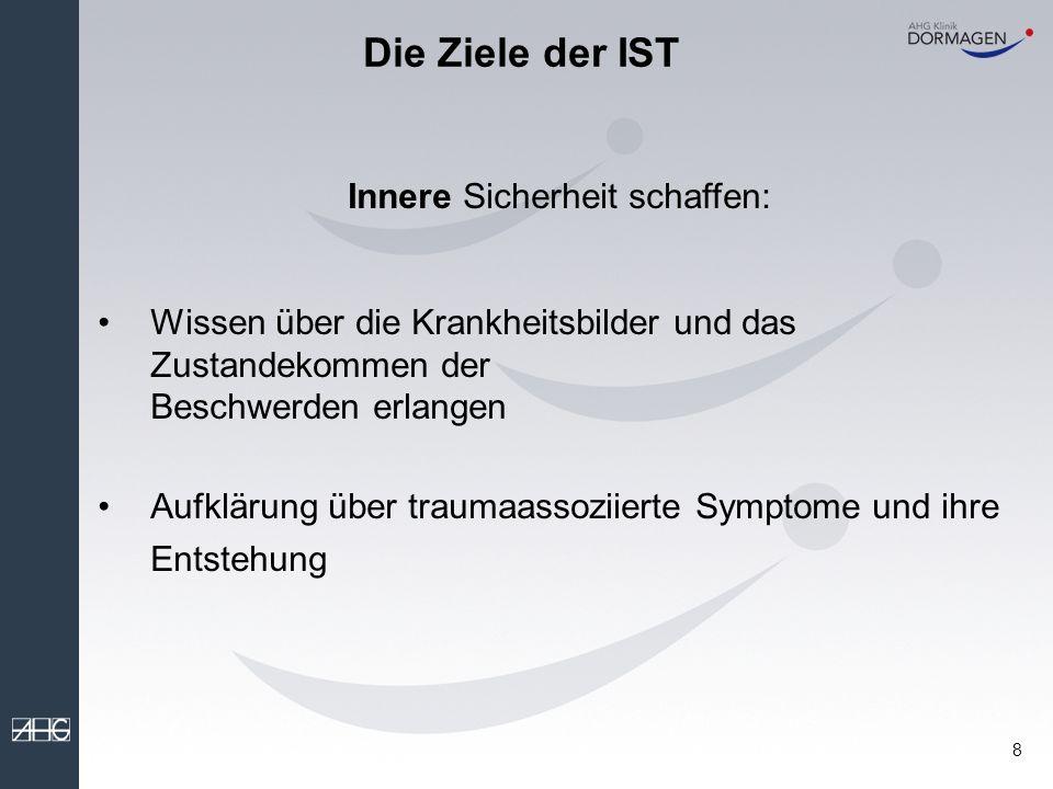8 Innere Sicherheit schaffen: Wissen über die Krankheitsbilder und das Zustandekommen der Beschwerden erlangen Aufklärung über traumaassoziierte Symptome und ihre Entstehung Die Ziele der IST