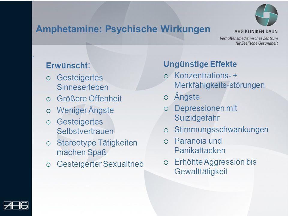 Amphetamine: Psychische Wirkungen. Erwünscht : Gesteigertes Sinneserleben Größere Offenheit Weniger Ängste Gesteigertes Selbstvertrauen Stereotype Tät