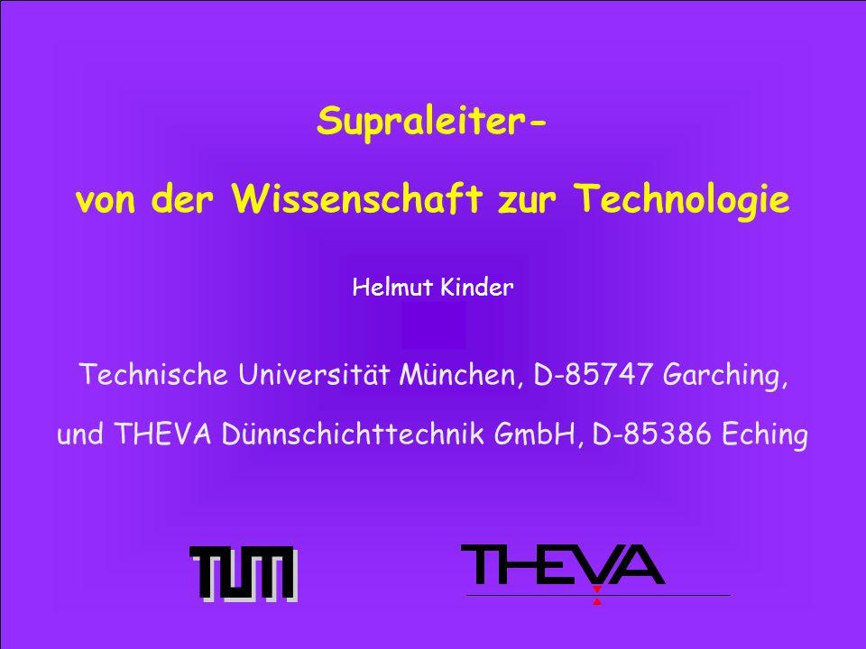 Helmut Kinder Technische Universität München, D-85747 Garching, und THEVA Dünnschichttechnik GmbH, D-85386 Eching Supraleiter- von der Wissenschaft zur Technologie