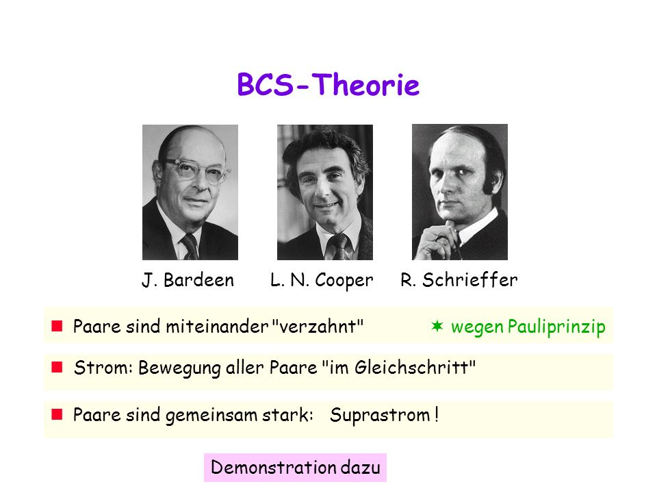 BCS-Theorie J.BardeenL. N. CooperR.