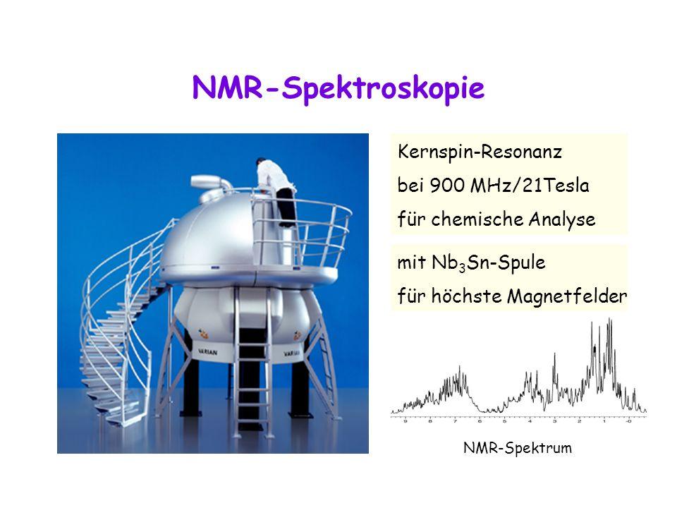NMR-Spektroskopie Kernspin-Resonanz bei 900 MHz/21Tesla für chemische Analyse mit Nb 3 Sn-Spule für höchste Magnetfelder NMR-Spektrum