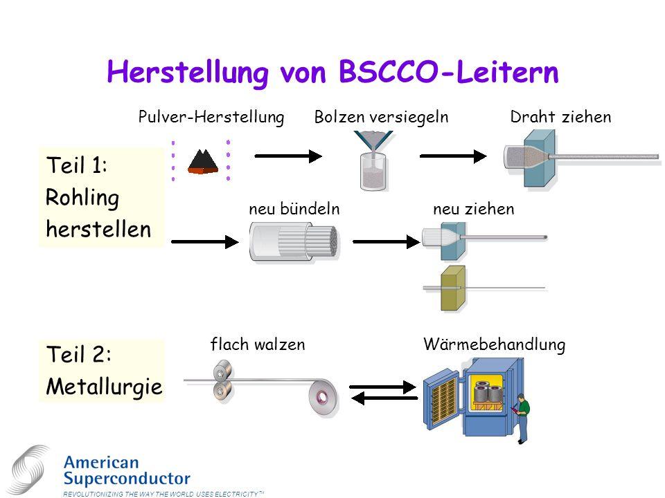 Herstellung von BSCCO-Leitern REVOLUTIONIZING THE WAY THE WORLD USES ELECTRICITY TM Teil 2: Metallurgie Teil 1: Rohling herstellen Pulver-HerstellungBolzen versiegeln Draht ziehen neu bündelnneu ziehen flach walzenWärmebehandlung