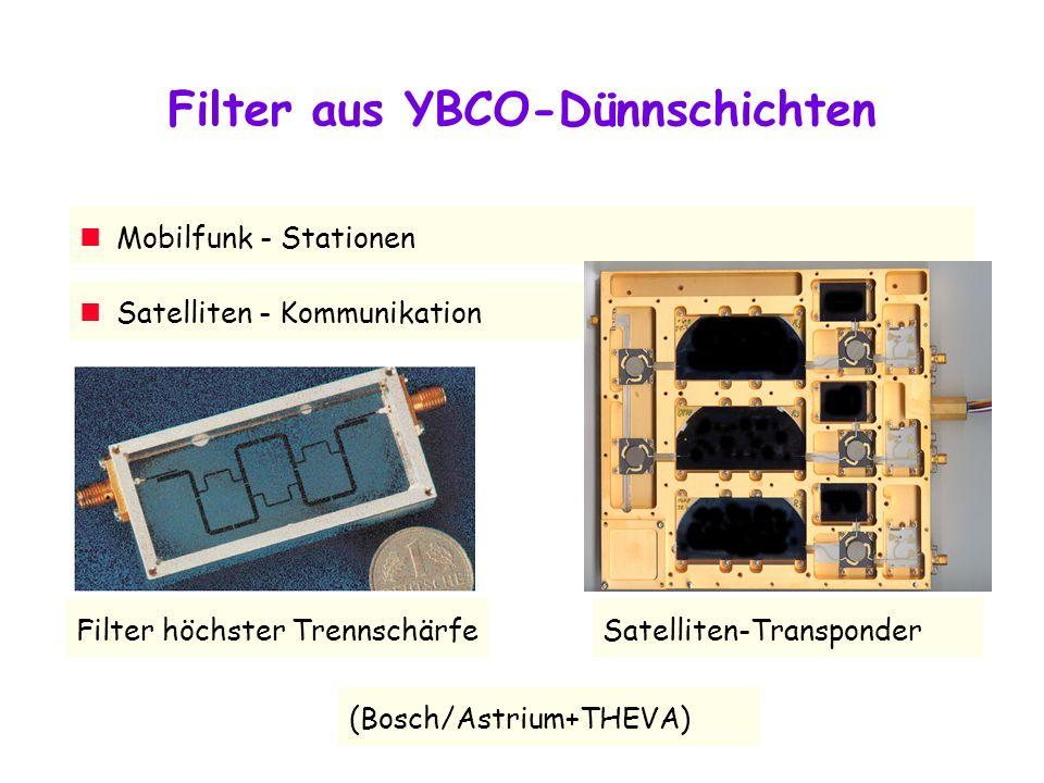 Filter aus YBCO-Dünnschichten Filter höchster Trennschärfe (Bosch/Astrium+THEVA) Mobilfunk - Stationen Satelliten - Kommunikation Satelliten-Transponder