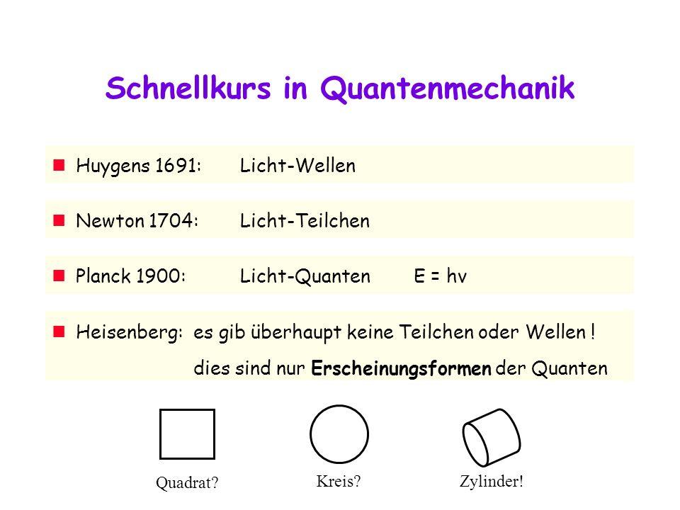 Schnellkurs in Quantenmechanik Newton 1704:Licht-Teilchen Huygens 1691:Licht-Wellen Planck 1900:Licht-Quanten E = hν Heisenberg:es gib überhaupt keine Teilchen oder Wellen .