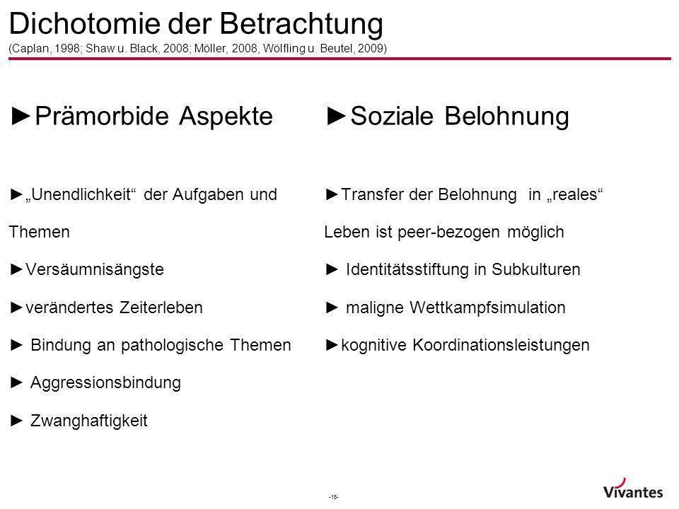-16- Dichotomie der Betrachtung (Caplan, 1998; Shaw u. Black, 2008; Möller, 2008, Wölfling u. Beutel, 2009) Prämorbide Aspekte Unendlichkeit der Aufga
