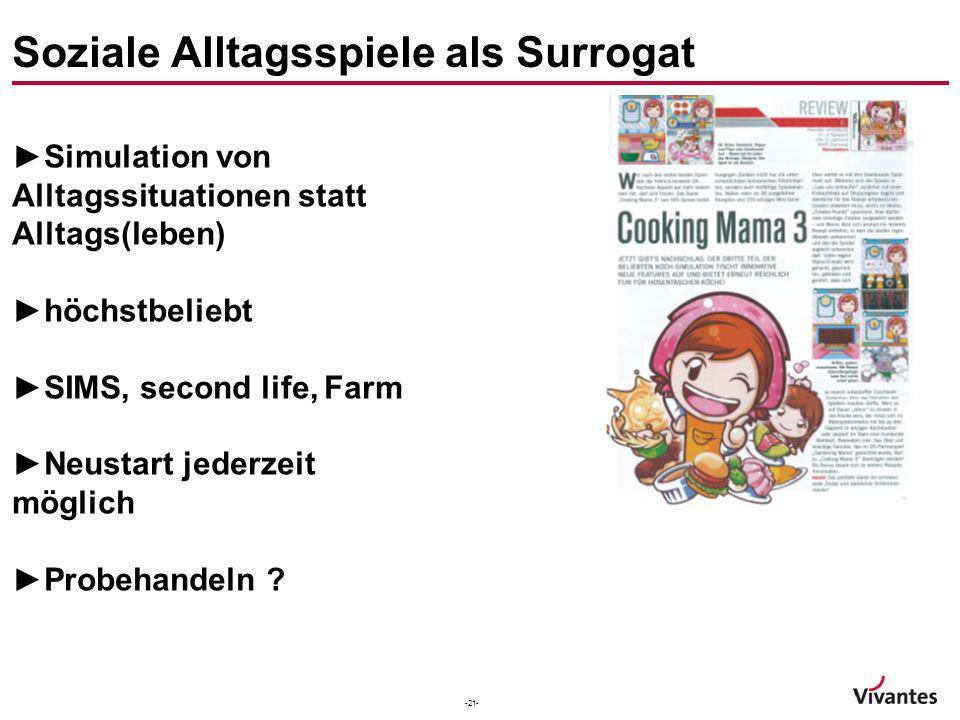 -21- Soziale Alltagsspiele als Surrogat Simulation von Alltagssituationen statt Alltags(leben) höchstbeliebt SIMS, second life, Farm Neustart jederzei
