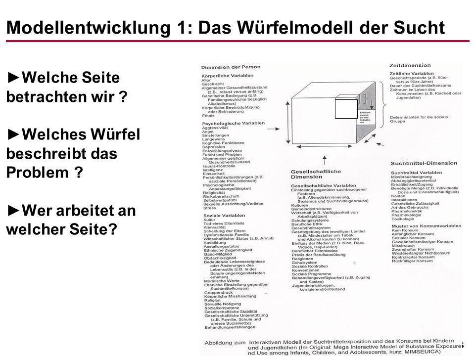-24- Modellentwicklung 1: Das Würfelmodell der Sucht Welche Seite betrachten wir ? Welches Würfel beschreibt das Problem ? Wer arbeitet an welcher Sei