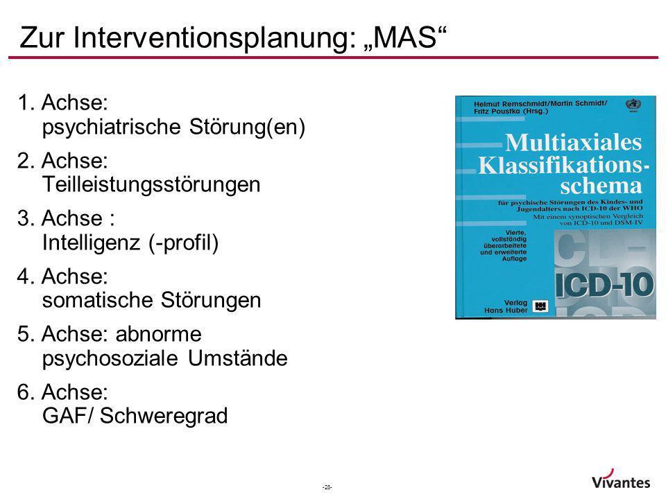 -28- Zur Interventionsplanung: MAS 1. Achse: psychiatrische Störung(en) 2. Achse: Teilleistungsstörungen 3. Achse : Intelligenz (-profil) 4. Achse: so
