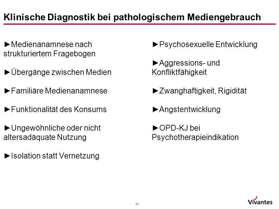 -31- Klinische Diagnostik bei pathologischem Mediengebrauch Medienanamnese nach strukturiertem Fragebogen Übergänge zwischen Medien Familiäre Medienan