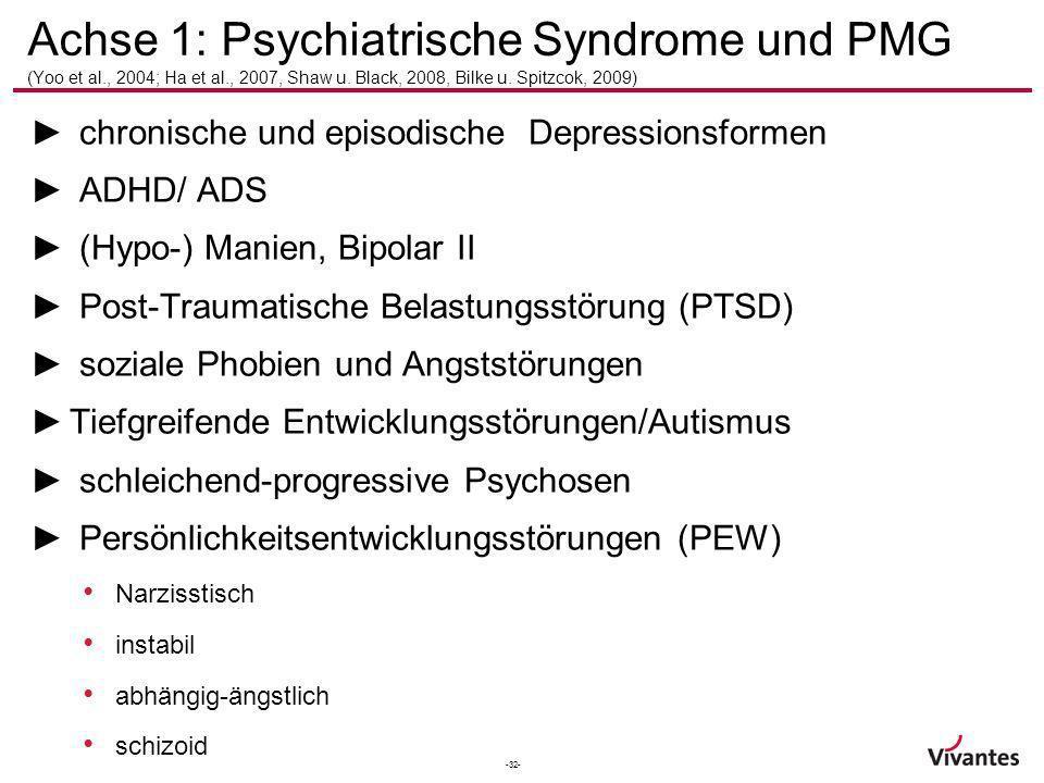 -32- Achse 1: Psychiatrische Syndrome und PMG (Yoo et al., 2004; Ha et al., 2007, Shaw u. Black, 2008, Bilke u. Spitzcok, 2009) chronische und episodi