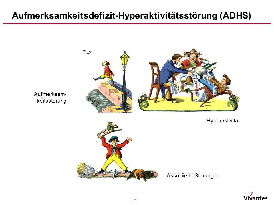 -33- Heinrich Hoffmann (1845) Aufmerksamkeitsdefizit-Hyperaktivitätsstörung (ADHS) Aufmerksam- keitsstörung Hyperaktivität Assoziierte Störungen