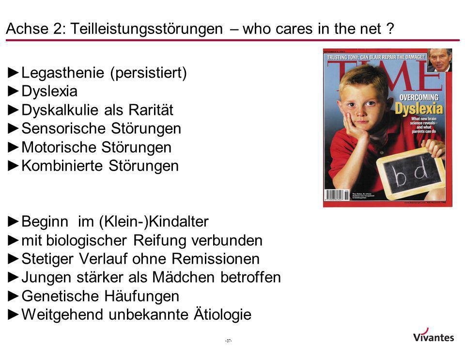 -37- Achse 2: Teilleistungsstörungen – who cares in the net ? Legasthenie (persistiert) Dyslexia Dyskalkulie als Rarität Sensorische Störungen Motoris