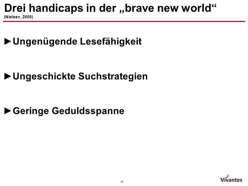 -38- Drei handicaps in der brave new world (Nielsen, 2005) Ungenügende Lesefähigkeit Ungeschickte Suchstrategien Geringe Geduldsspanne