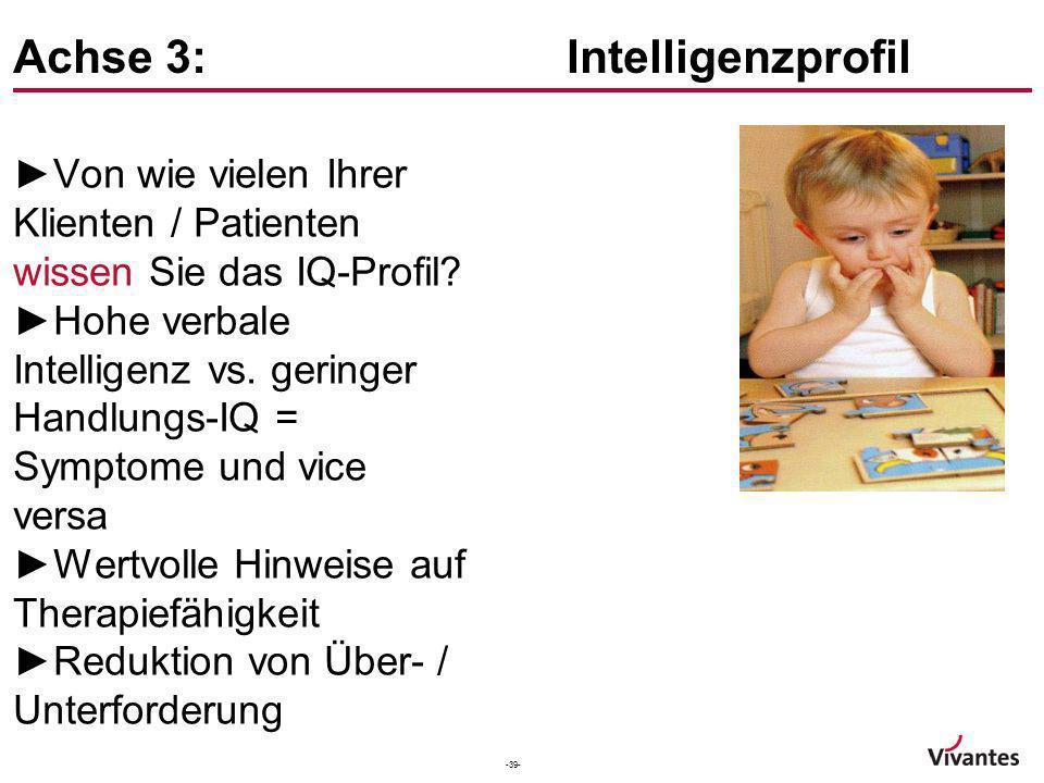 -39- Achse 3: Intelligenzprofil Von wie vielen Ihrer Klienten / Patienten wissen Sie das IQ-Profil? Hohe verbale Intelligenz vs. geringer Handlungs-IQ