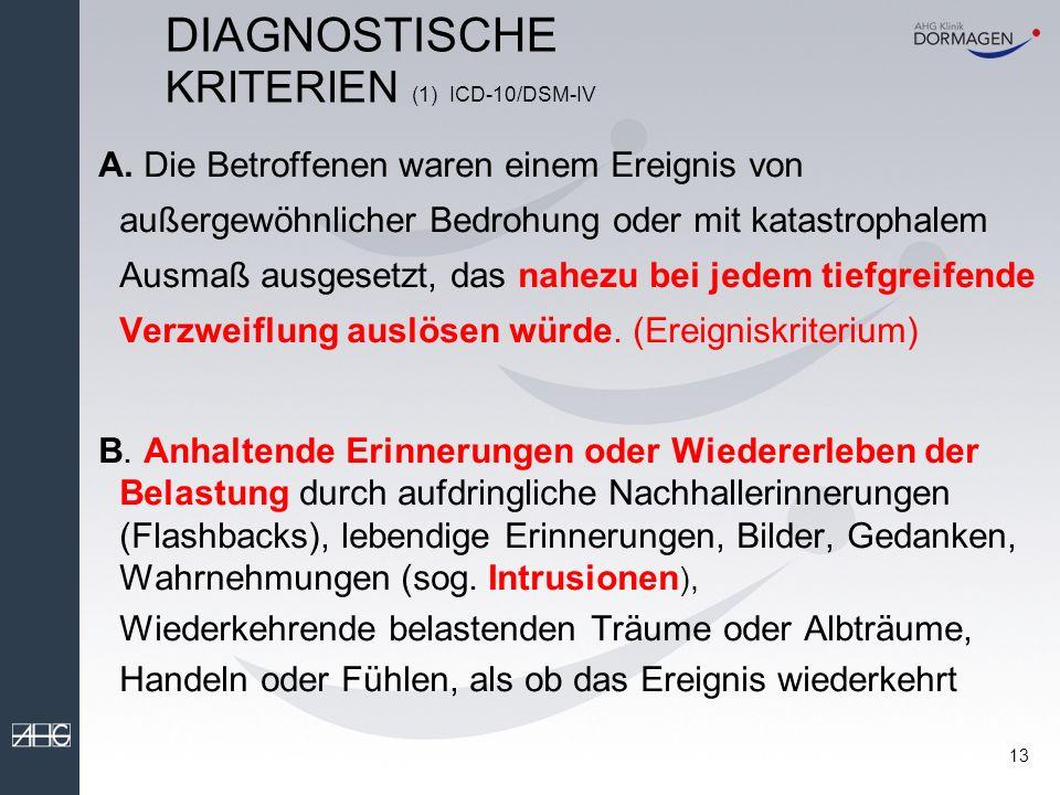 12 Antwortverhalten auf traumatische Ereignisse nach Meichenbaum 1994 1.Emotionale Reaktion: z.B.