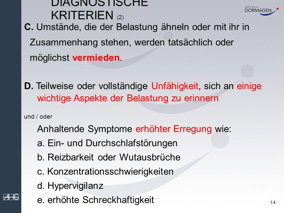 13 DIAGNOSTISCHE KRITERIEN (1) ICD-10/DSM-IV A.