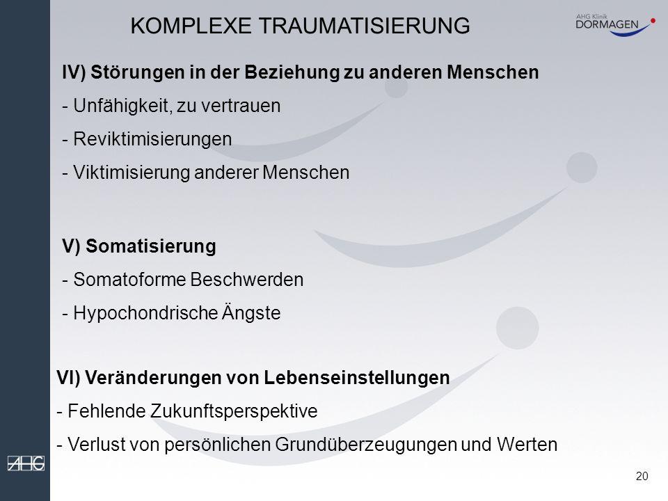 19 II) Störungen der Wahrnehmung oder des Bewusstseins - Amnesien, Dissoziative Episoden und Depersonalisation KOMPLEXE TRAUMATISIERUNG III) Störungen der Selbstwahrnehmung - Unzureichende Selbstfürsorge - Gefühl, dauerhaft zerstört zu sein - Schuld- und Schamgefühle - Gefühl, isoliert und abgeschnitten von der Umwelt zu sein - Bagatellisieren von gefährlichen Situationen