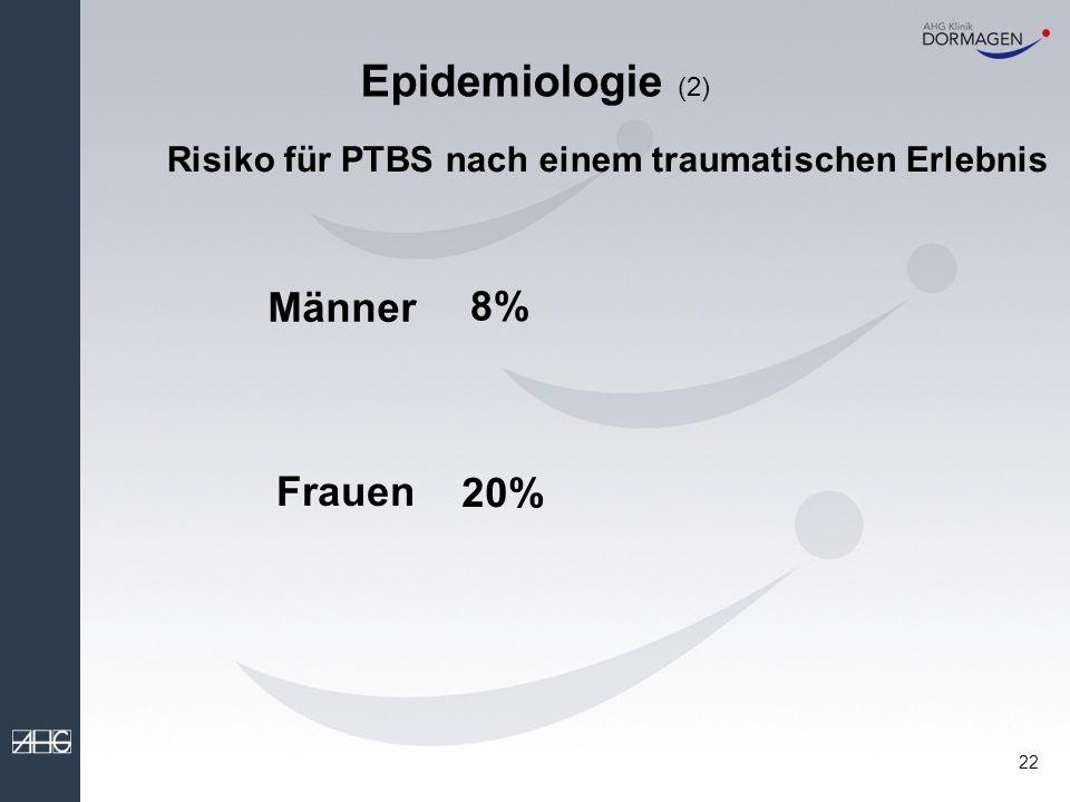 21 Epidemiologie (1) Häufigkeit traumatischer Ereignisse mit den DSM-IV- Kriterien fanden Stein et al.