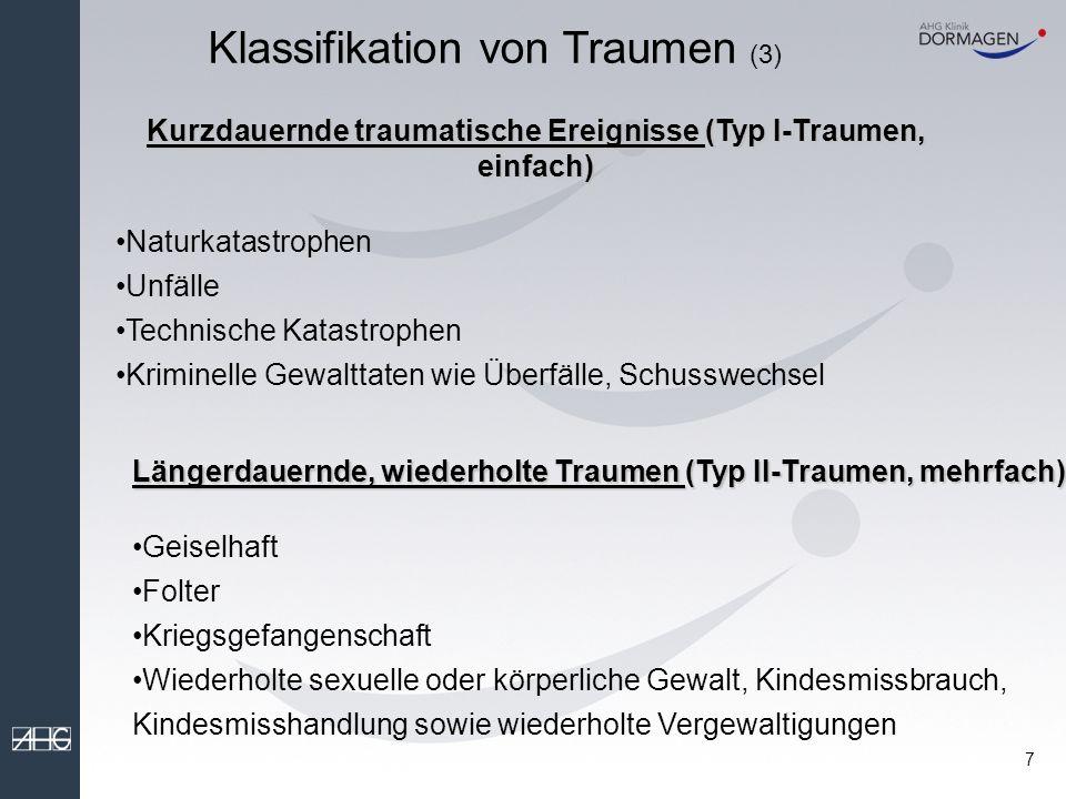 6 Klassifikation von Traumen (2) Naturkatastrophen Technische Katastrophen (z.B.
