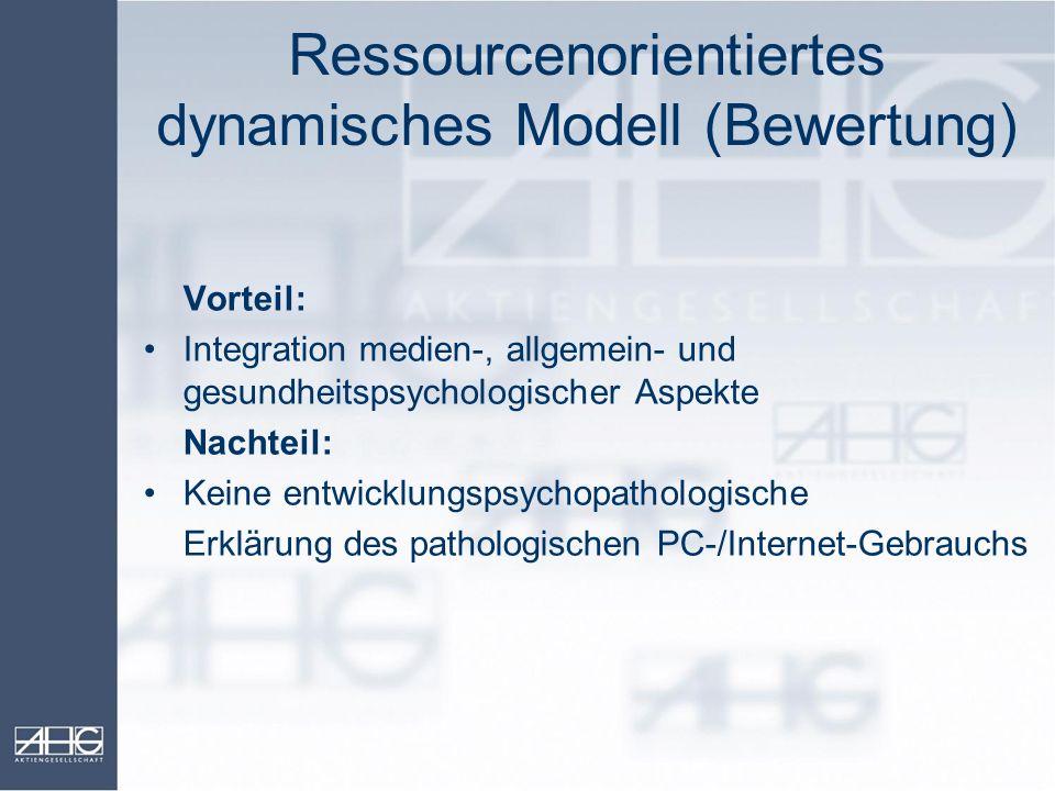 Ressourcenorientiertes dynamisches Modell (Bewertung) Vorteil: Integration medien-, allgemein- und gesundheitspsychologischer Aspekte Nachteil: Keine