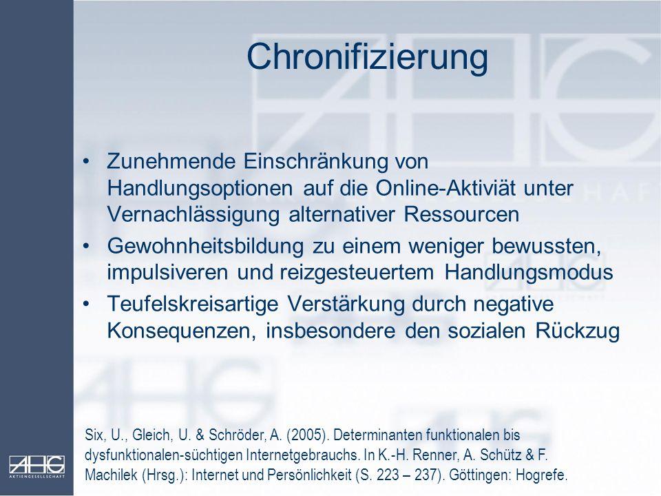 Chronifizierung Six, U., Gleich, U. & Schröder, A. (2005). Determinanten funktionalen bis dysfunktionalen-süchtigen Internetgebrauchs. In K.-H. Renner