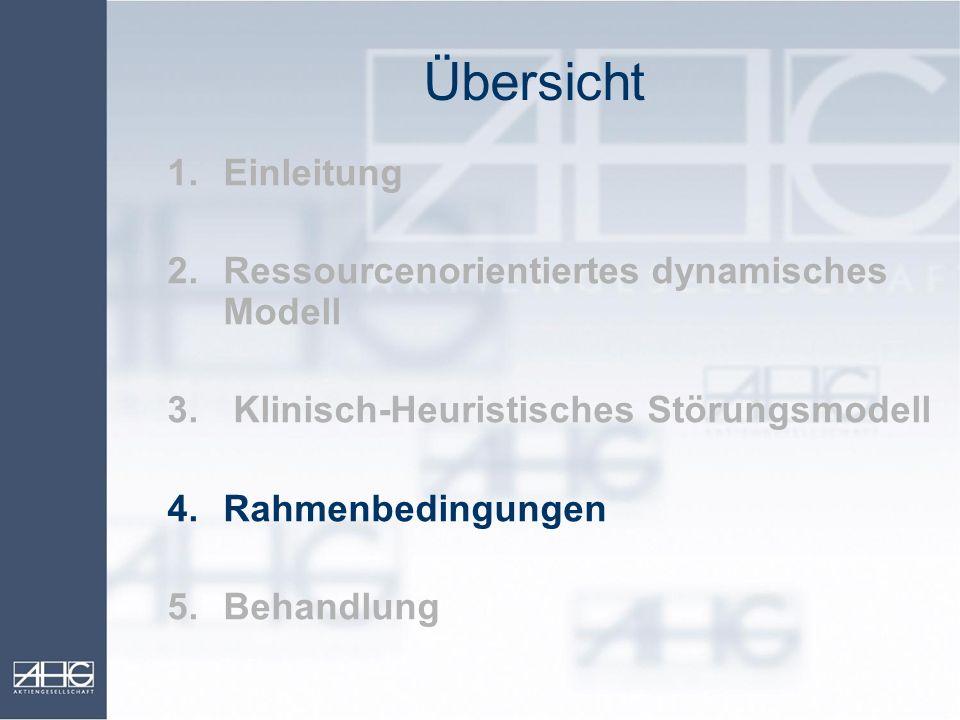 Übersicht 1.Einleitung 2.Ressourcenorientiertes dynamisches Modell 3. Klinisch-Heuristisches Störungsmodell 4.Rahmenbedingungen 5.Behandlung