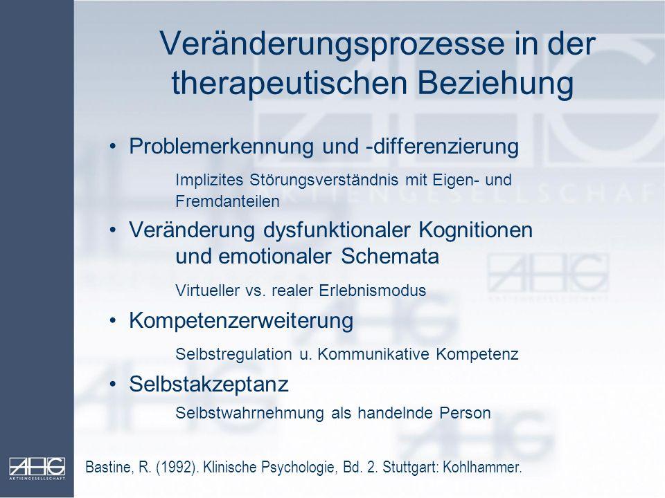 Veränderungsprozesse in der therapeutischen Beziehung Problemerkennung und -differenzierung Implizites Störungsverständnis mit Eigen- und Fremdanteile