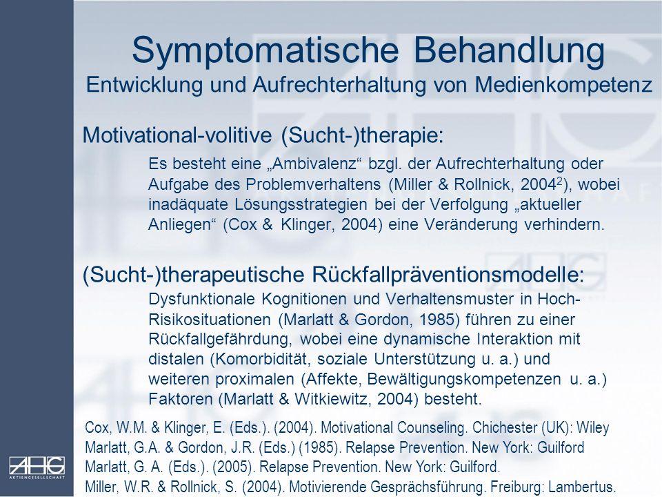 Symptomatische Behandlung Entwicklung und Aufrechterhaltung von Medienkompetenz Motivational-volitive (Sucht-)therapie: Es besteht eine Ambivalenz bzg