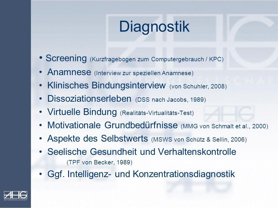 Diagnostik Screening (Kurzfragebogen zum Computergebrauch / KPC) Anamnese (Interview zur speziellen Anamnese) Klinisches Bindungsinterview (von Schuhl