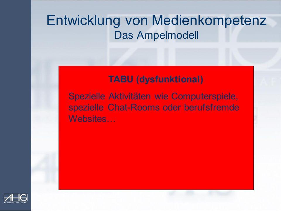 Entwicklung von Medienkompetenz Das Ampelmodell OKAY (funktional) Beruflich notwendige PC-Nutzung wie definierte eMail-Korrespondenz, Buchungen und Üb