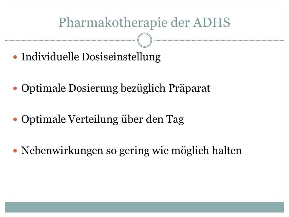 Pharmakotherapie der ADHS Individuelle Dosiseinstellung Optimale Dosierung bezüglich Präparat Optimale Verteilung über den Tag Nebenwirkungen so gerin