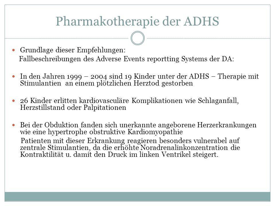 Pharmakotherapie der ADHS Grundlage dieser Empfehlungen: Fallbeschreibungen des Adverse Events reportting Systems der DA: In den Jahren 1999 – 2004 si